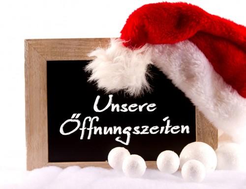 Öffnungszeiten zu Weihnachten!!